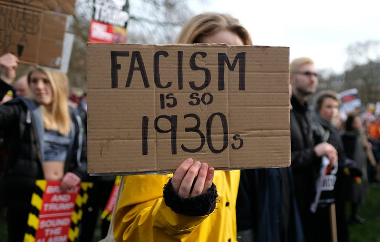 A protest against Donald Trump's refugee policies in London, February 2017. alisdare1/flickr , CC BY-SA
