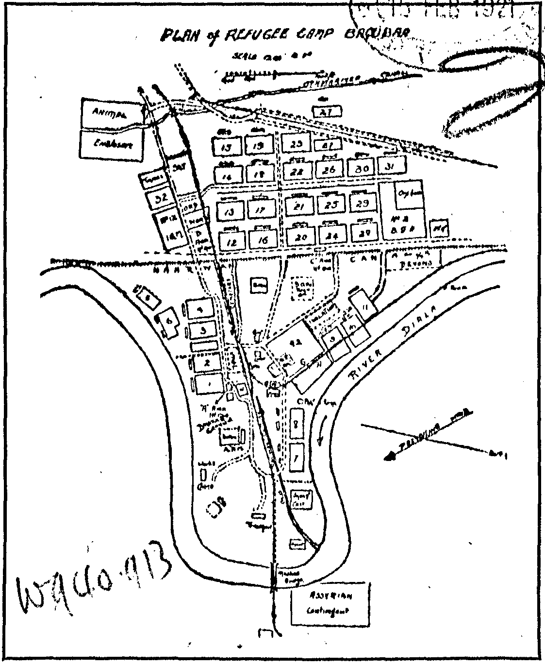 Plan of Refugee Camp Baqubah', frontispiece to H.H. Austin's book about the camp. The rectangles numbered 1–32 each accommodated roughly 1,250 refugees. West is (roughly) at the top of the plan. Of the crossed arrows, one points north and the other shows the direction of the prevailing wind.