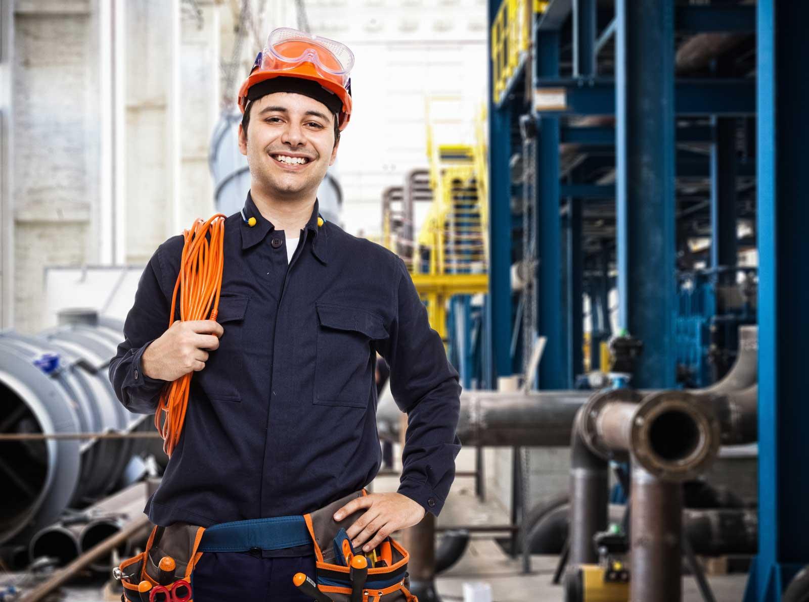 commercial plumbing worker