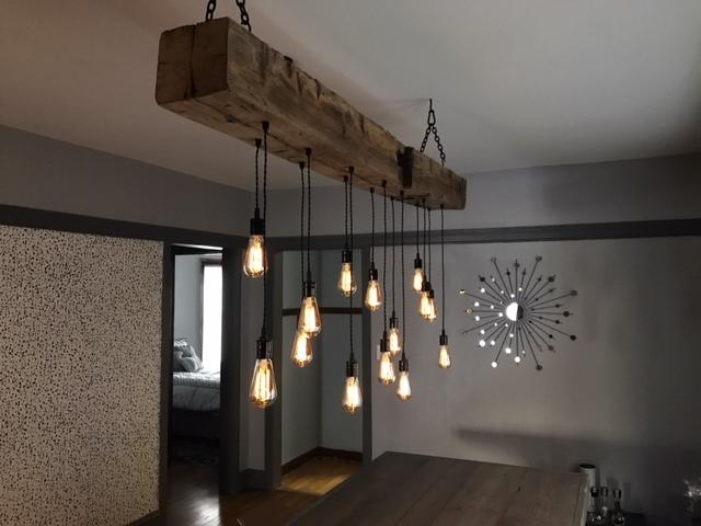 wood beam light