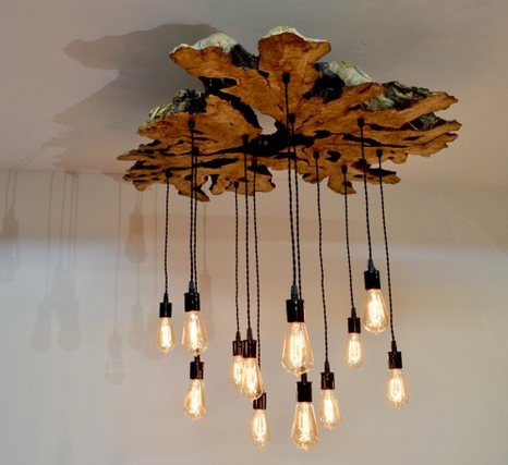 Olive Wood Slab Chandelier