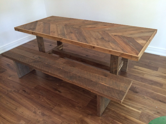 Reclaimed Barn Chevron Table and Bench