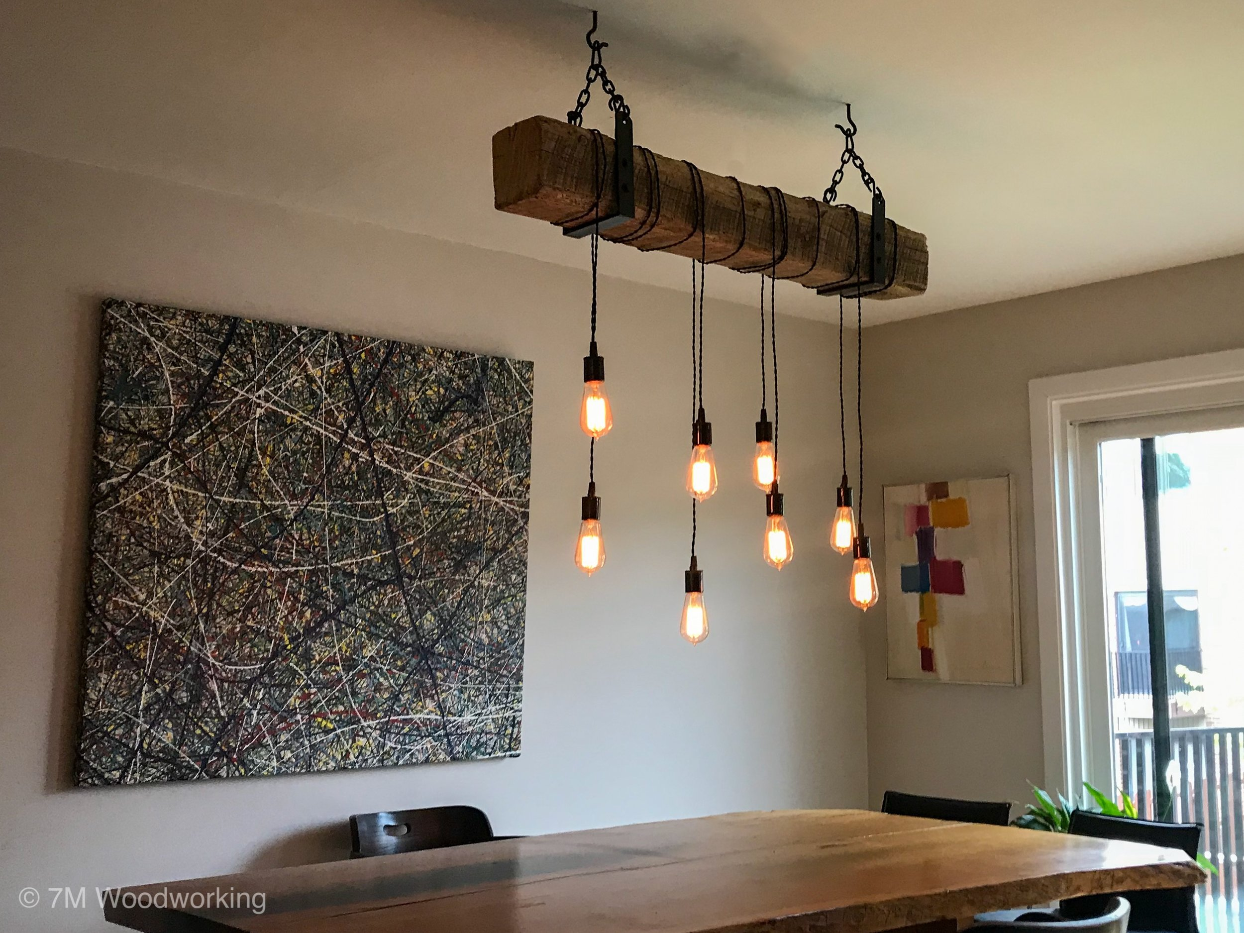 Rustic Wood Beam Light Fixture by 7M