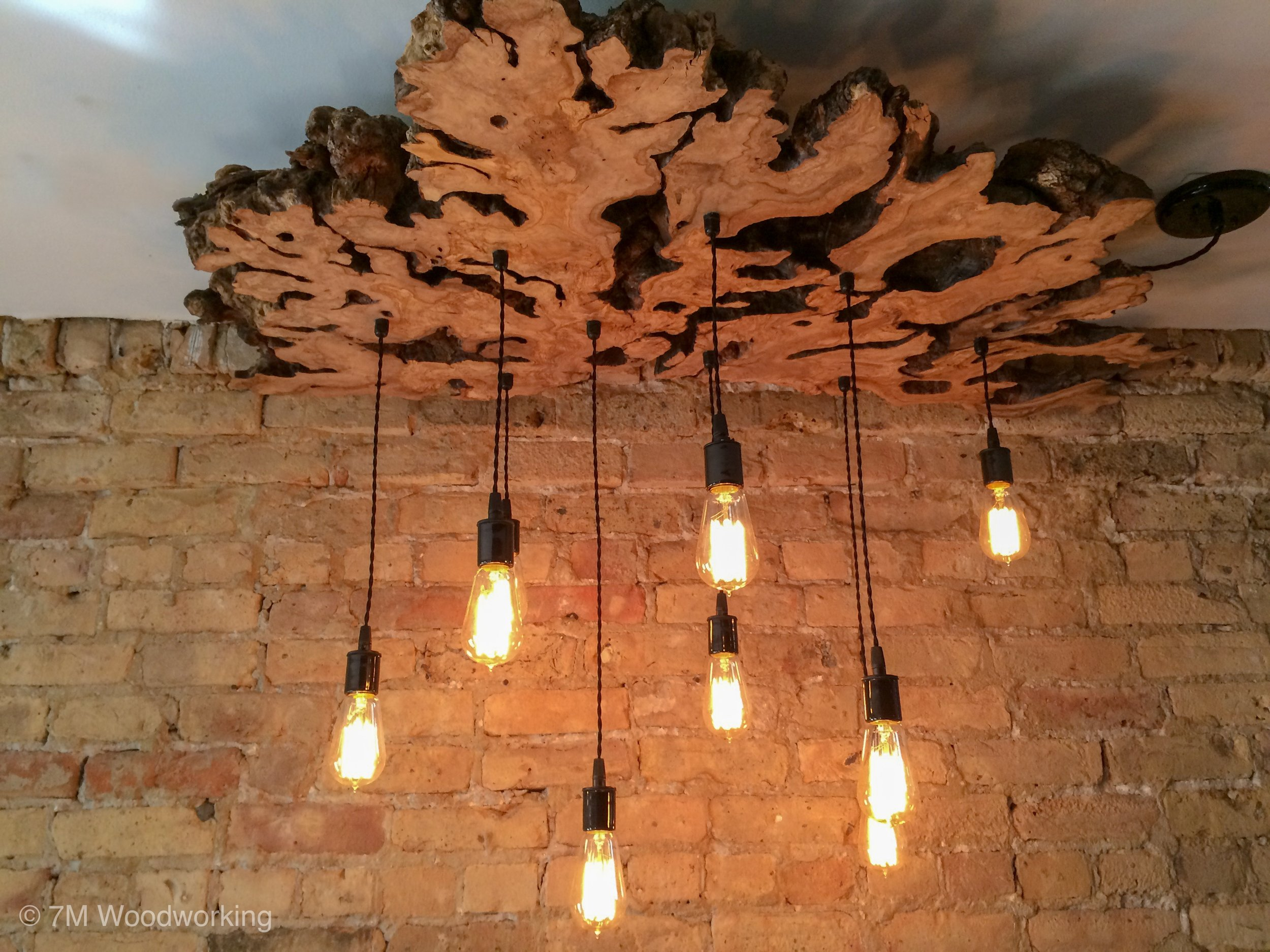 live edge olive wood chandelier