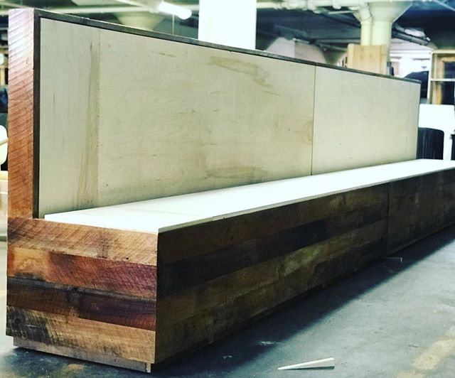 Working with an upholstery shop on some reclaimed barn wood restaurant booths. . . . . #7mwoodworking #restaurantdesign #restaurantbooths #benches #benchs #benchseat #benchseating #woodbench #reclaimedwood #reclaimedwoodfurniture #benchseats