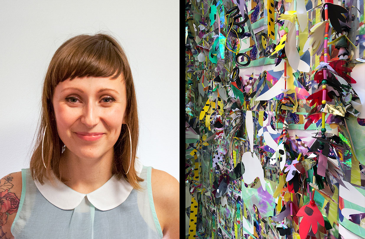 We are excited to announce that Hamiltonian alum and artist,  Amy Boone-McCreesh  has joined us as our fourth installation artist in a joint collaboration with our friends at  13|U.  Her new installations,  Too Loud to See  will be up until November 13, 2018.   Amy Boone-McCreesh creates multi-media artwork that addresses the clash between handmade and technical processes and challenges notions of visual taste. A decorative and maximal aesthetic often fuels her visual vocabulary. She holds a Masters of Fine Arts from Towson University in Maryland (2010). Her work has also been included in exhibitions across the country including a site-specific installation at Mixed Greens (NY, New York, 2015), Transmitter Gallery (Brooklyn, NY, 2015), Transformer Gallery (Washington DC (2015), Dickinson College visiting artist and exhibition (Carlisle, PA 2015), and completed a collaborative site- specific public installation at School 33 in Baltimore, MD (2014) funded by the Rauschenberg Foundation Grant awarded to the non-profit. Recent collections include the Department of State, U.S. Consulate in Monterrey, Mexico (Art in Embassies, 2013) and Capital One. Recent publications and features include New American Paintings (issues 106 and 118) and Handmade Life, published by Thames and Hudson (2016)