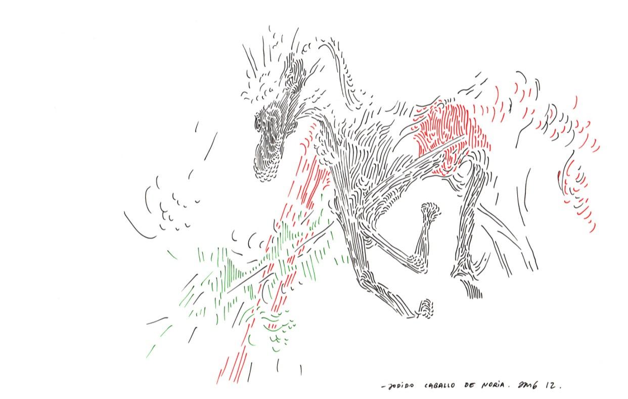 """Jodido Carballo de Noria   Ink on paper  12"""" x 16.5""""  2012"""