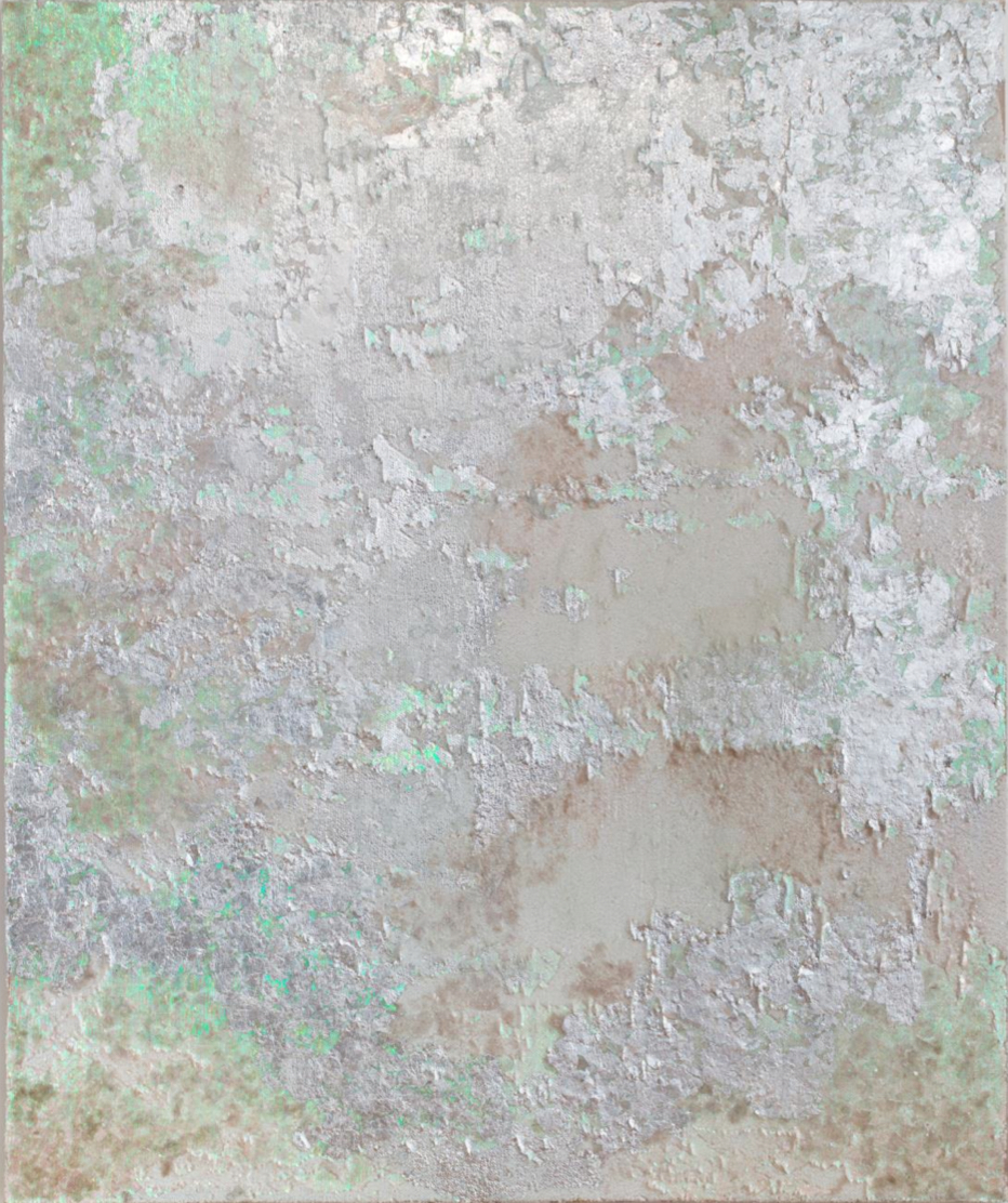 """GHOST   Mica, silver leaf, powdered glass, and pigment on sequin fabric  72"""" x 60""""  2018"""