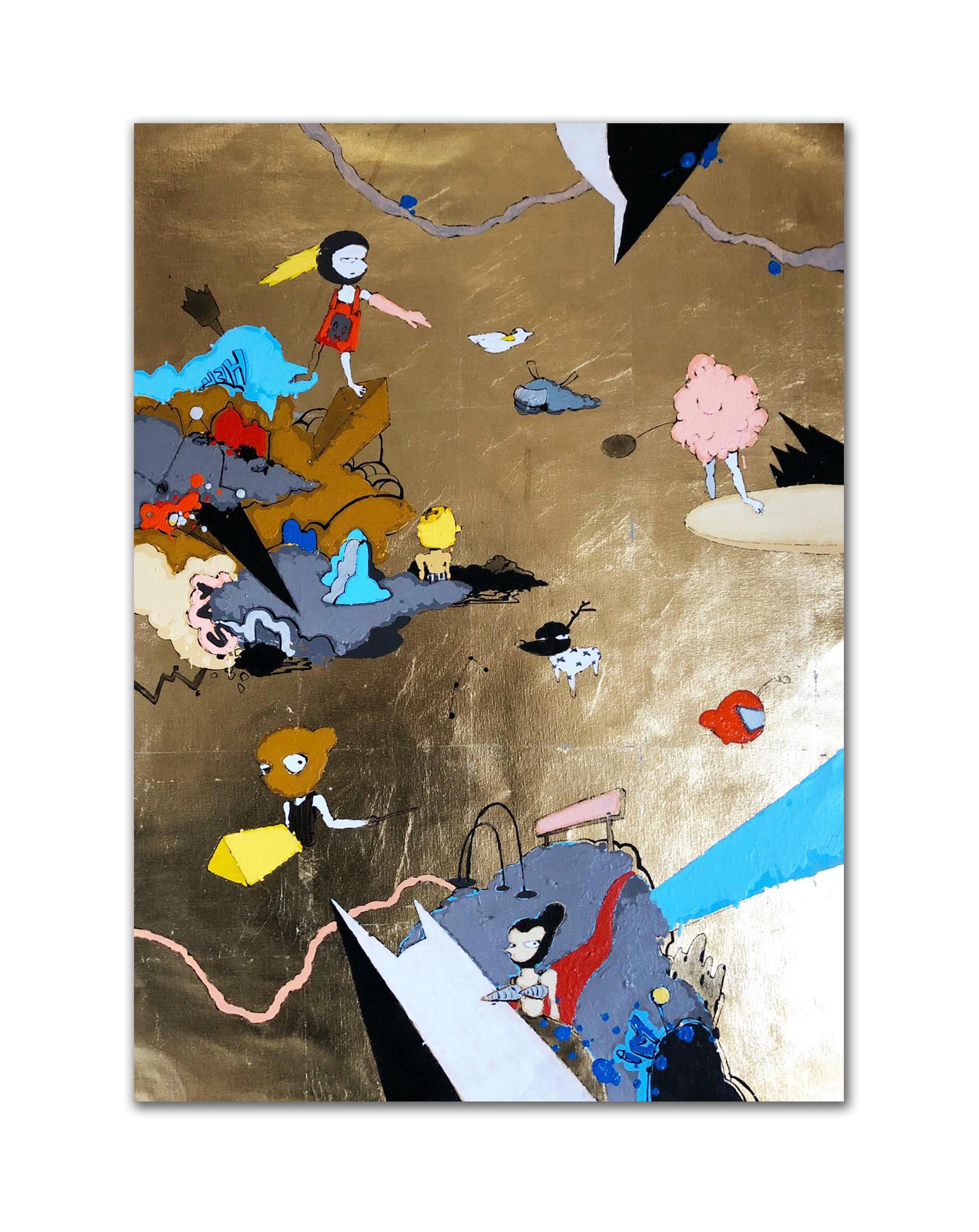 """NO TODO LO QUE BRILLA ES ORO   Acrylic on Canvas  24"""" x 32""""  2018"""