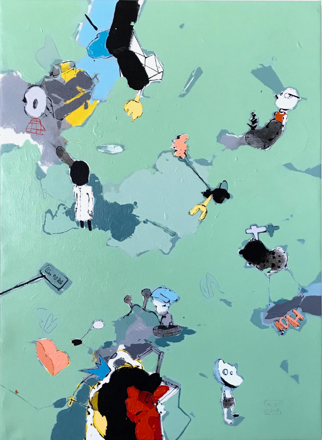 "TRIPTYCH I   Acrylic on Canvas  36"" x 30""  2007"