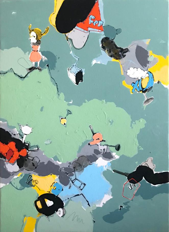 "TRIPTYCH III   Acrylic on Canvas  36"" x 30""  2007"