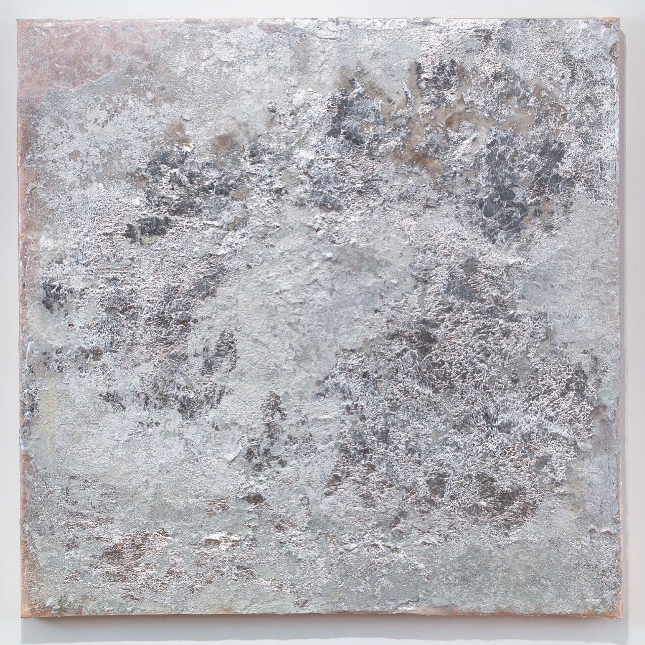 Moon , 2018. Silver leaf, mica and pigment on silk, 36 x 36 in.