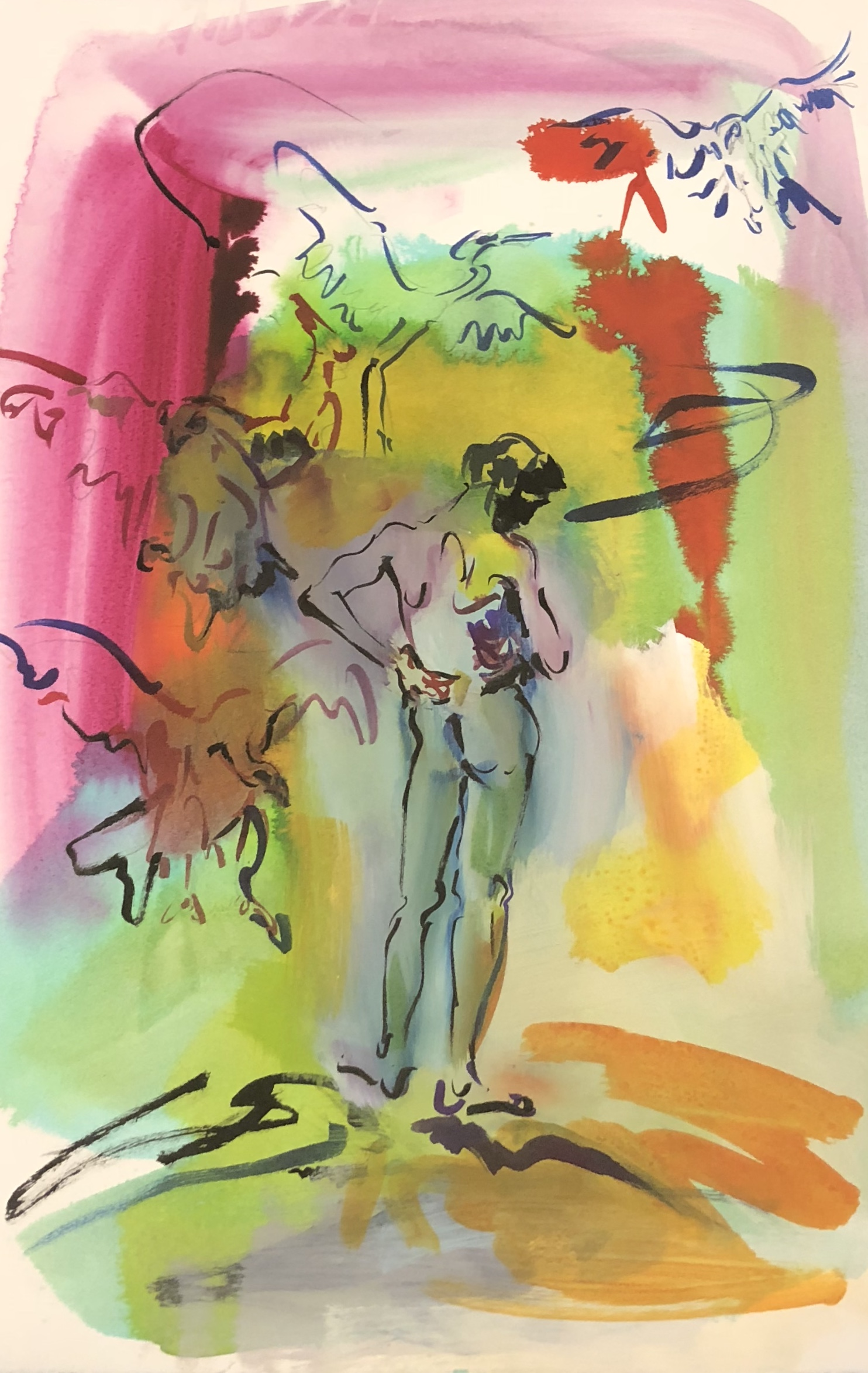 """Suzanne Unrein  Elysium Flats Watercolor, ink and acrylic on paper 22"""" x 15"""""""