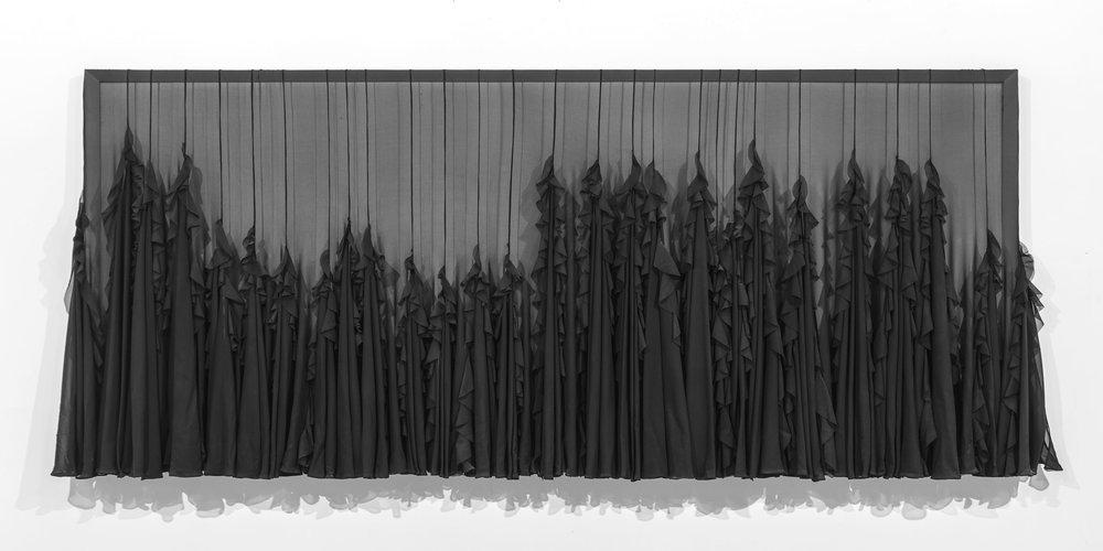 "Chute De khone - 32""x 84""Chiffon, lead, and wood2012"