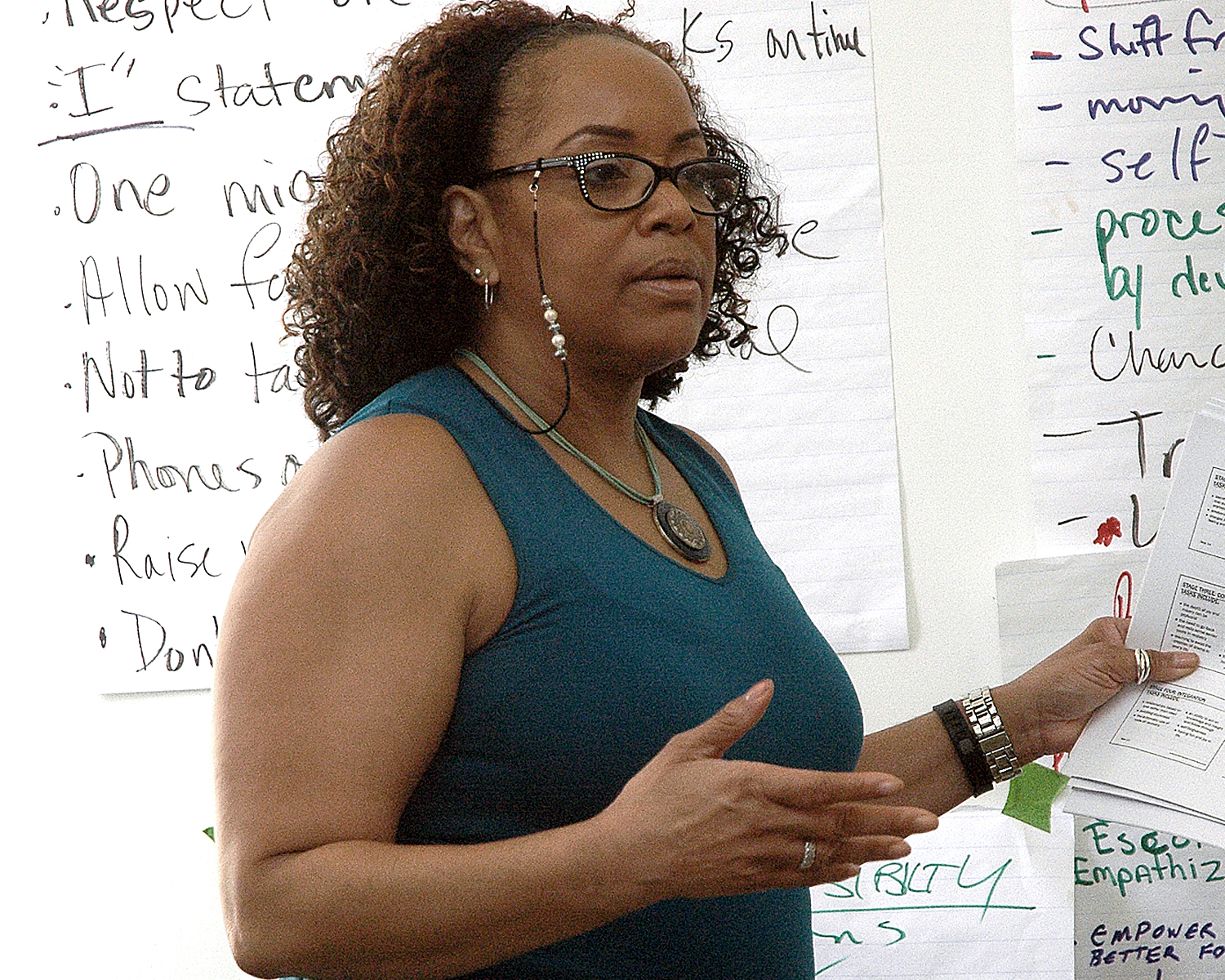 Deborah Yuelles leading a discussion