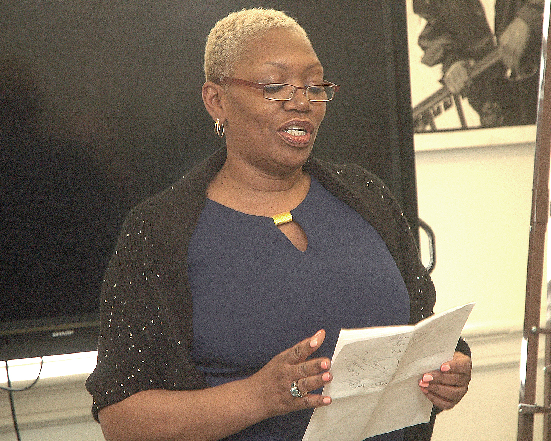 Justine L. during her final presentation