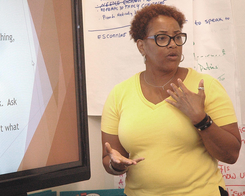 Deborah Yuelles leading a discussion