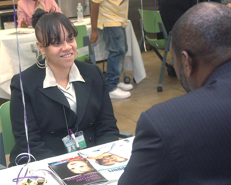 Leslie Abreu during a job interview