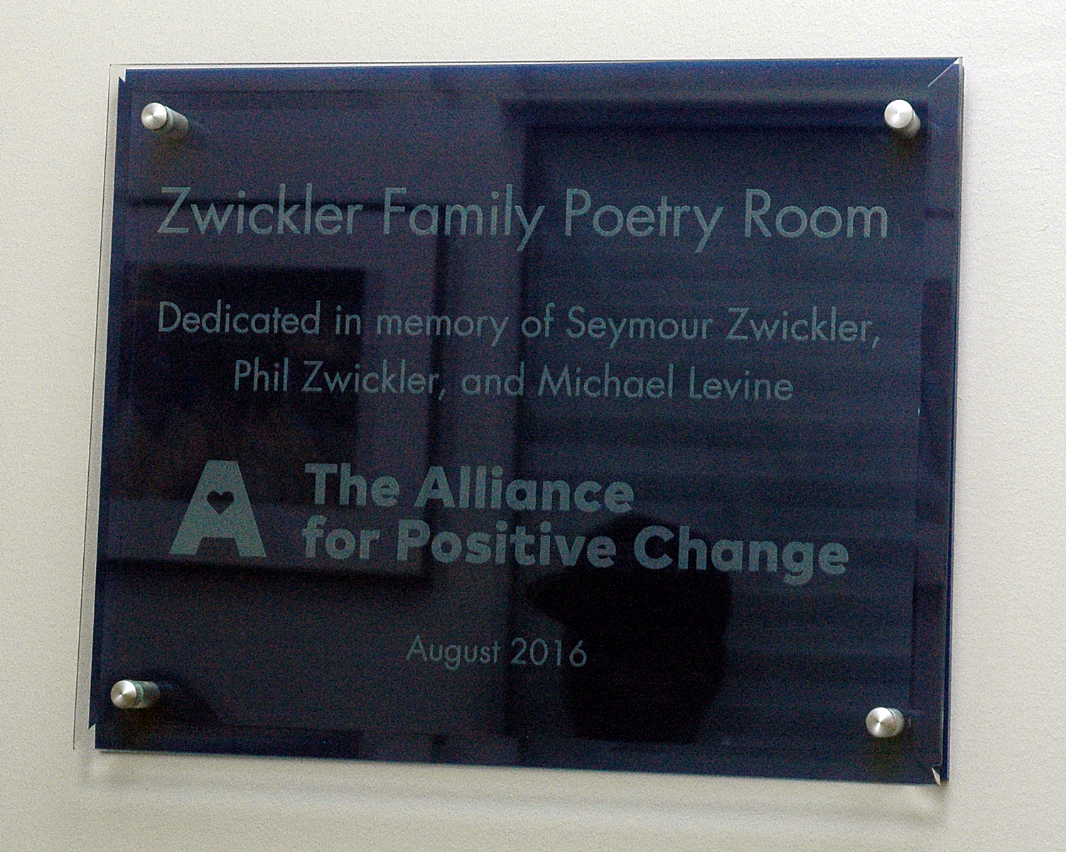 Zwickler Family Poetry Room Plaque