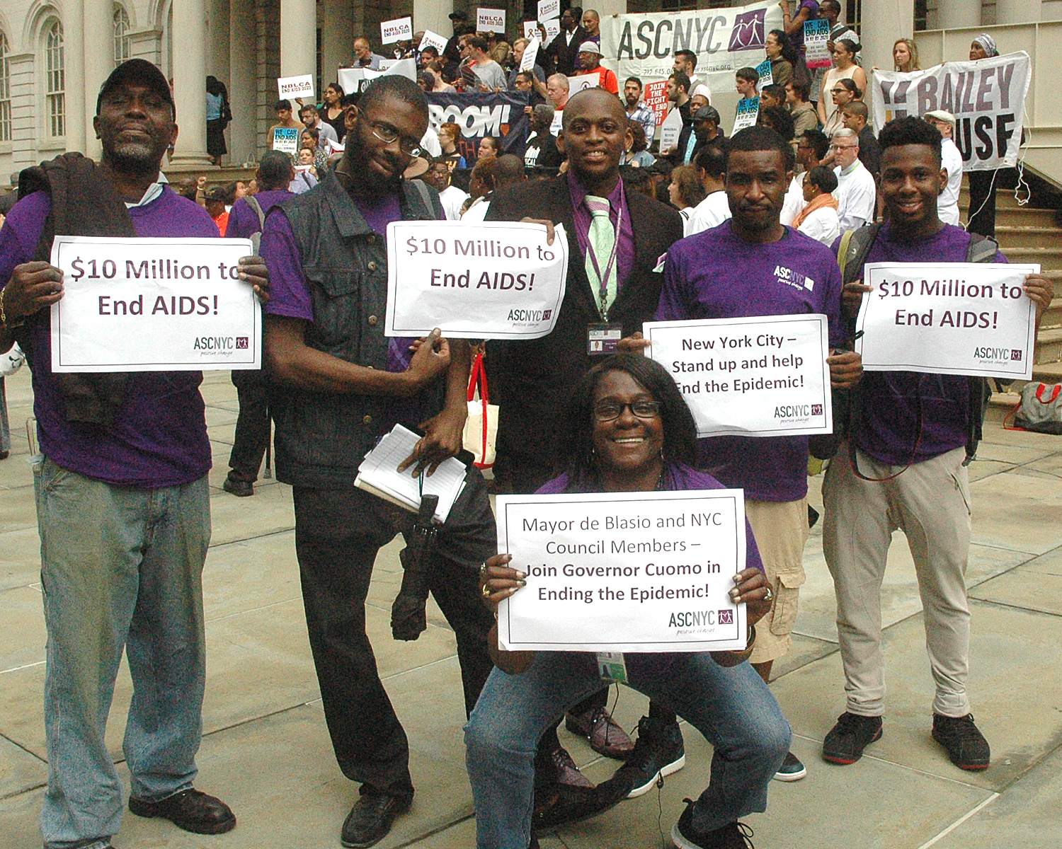 Dennis Martin with members of the ASCNYC Family near the steps of City Hall…showing their support