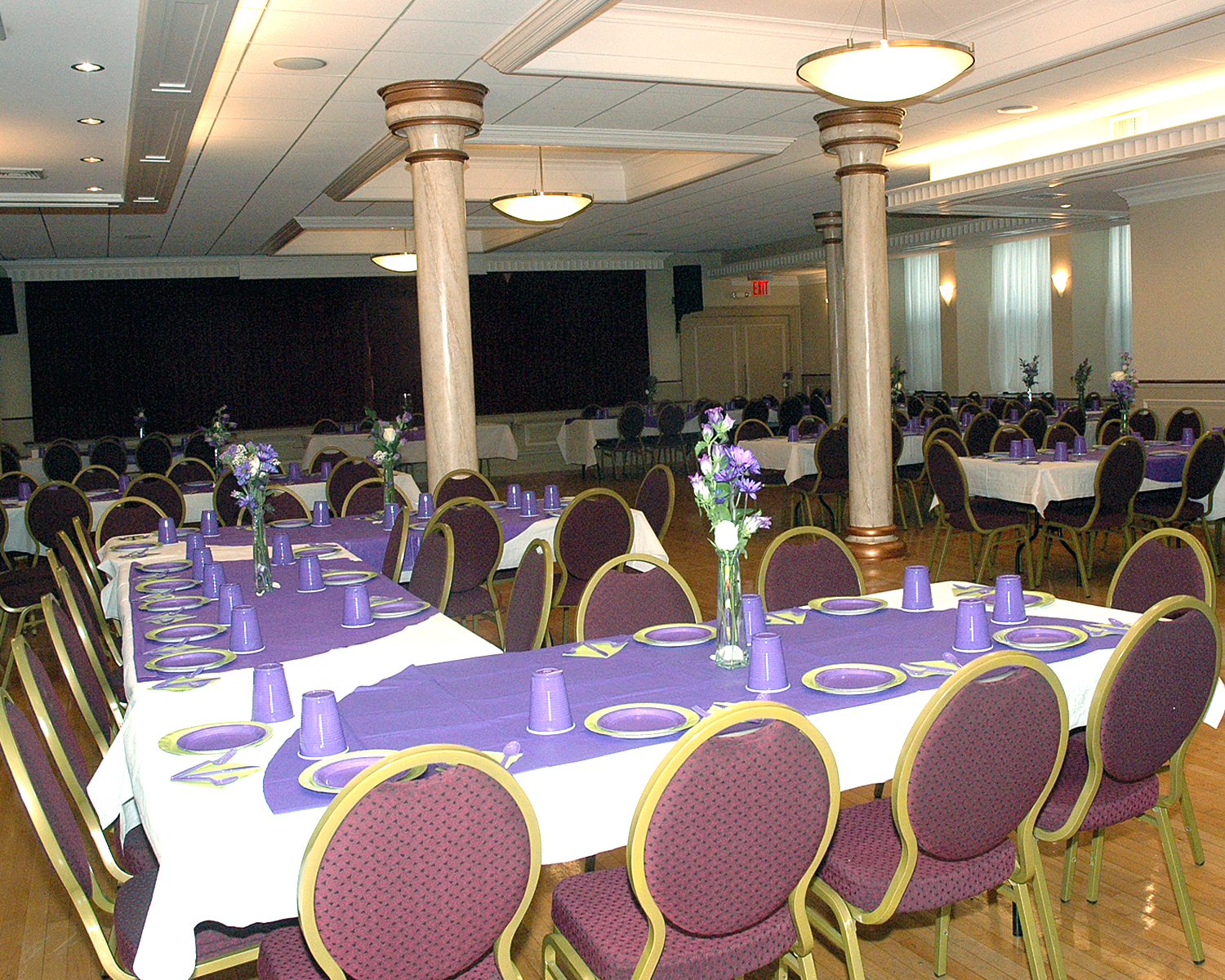 The catering hall ready for the celebration