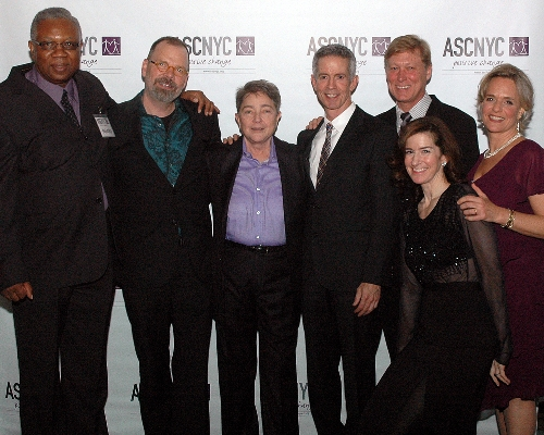 ASCNYC Board Members Bill Toler and Jessica Greer Morris, ED Sharen Duke, Honorees David France and Joy Tomchin with Special Guests Peter Staley and Robert La Fosse