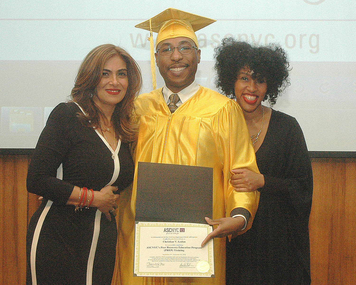 Christian L. receiving his certification