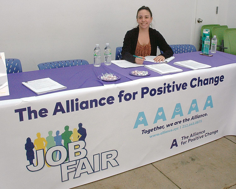 Rosie Whiteside at The Alliance table at the job fair