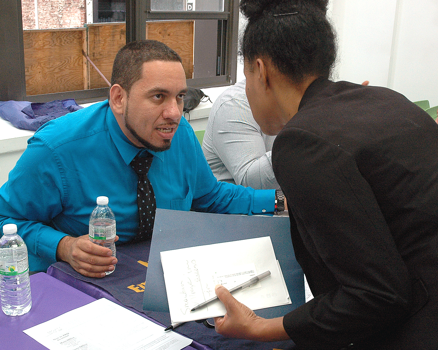 One of the job fair interviewers…with one attendee