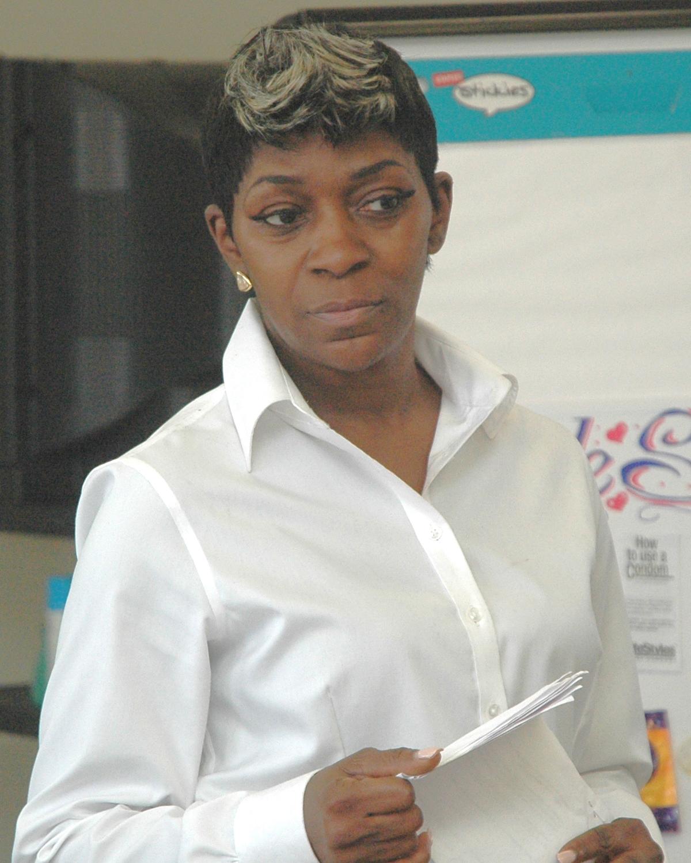 A class member during her final presentation