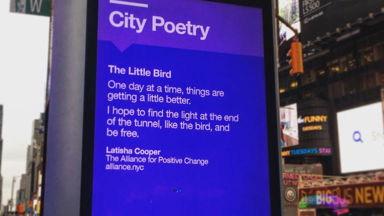 LinkNYC kiosks are displaying work by Alliance for Positive Change's participants for National Poetry Month