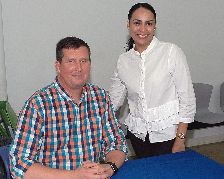 One of the job fair interviewers with Suri Medina