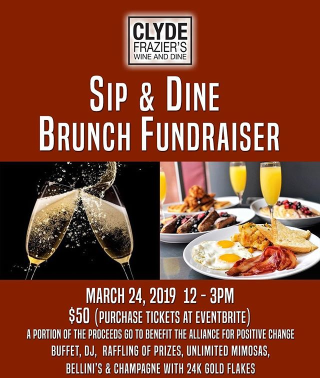 On Sunday 3/24, @clydefraziers invites you to #brunch for a cause! 🍳🥓 Enjoy tasty food, creative drinks and great company, all while supporting positive change!  Tickets are available for $50 ahead of time or $60 at the door. 20% of each ticket goes to Alliance. Get tickets: http://bit.ly/2II3iYq