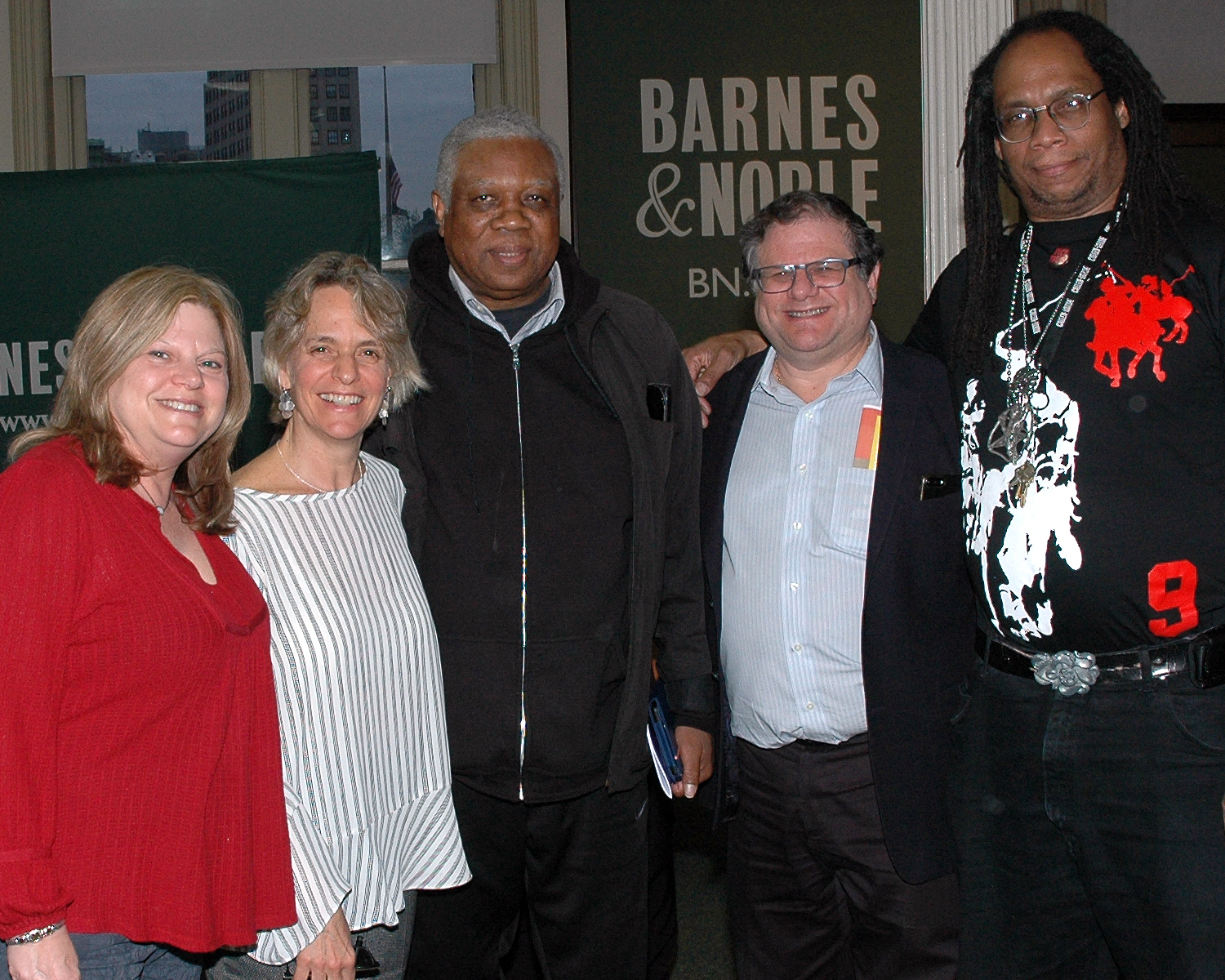 Sharen Duke with Board Members: William Toler, Allen Zwickler, Caren Levine, Zwickler Foundation and one of the poets