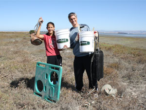 Families help clean-up the baylands on Coastal Cleanup Day