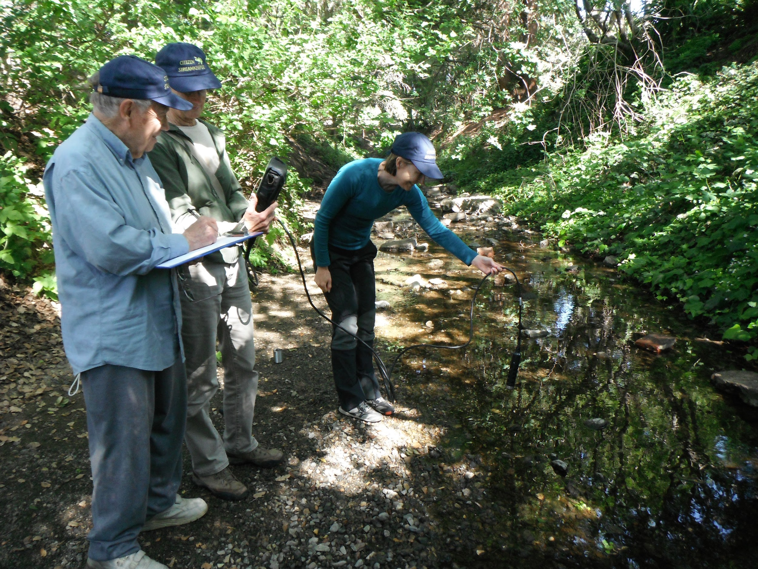 (Left to right) Bob Foglesong and Ann Knopf record data and assist with   observations as Kit Gordon lowers the meter into Adobe Creek on the Foothill College campus.