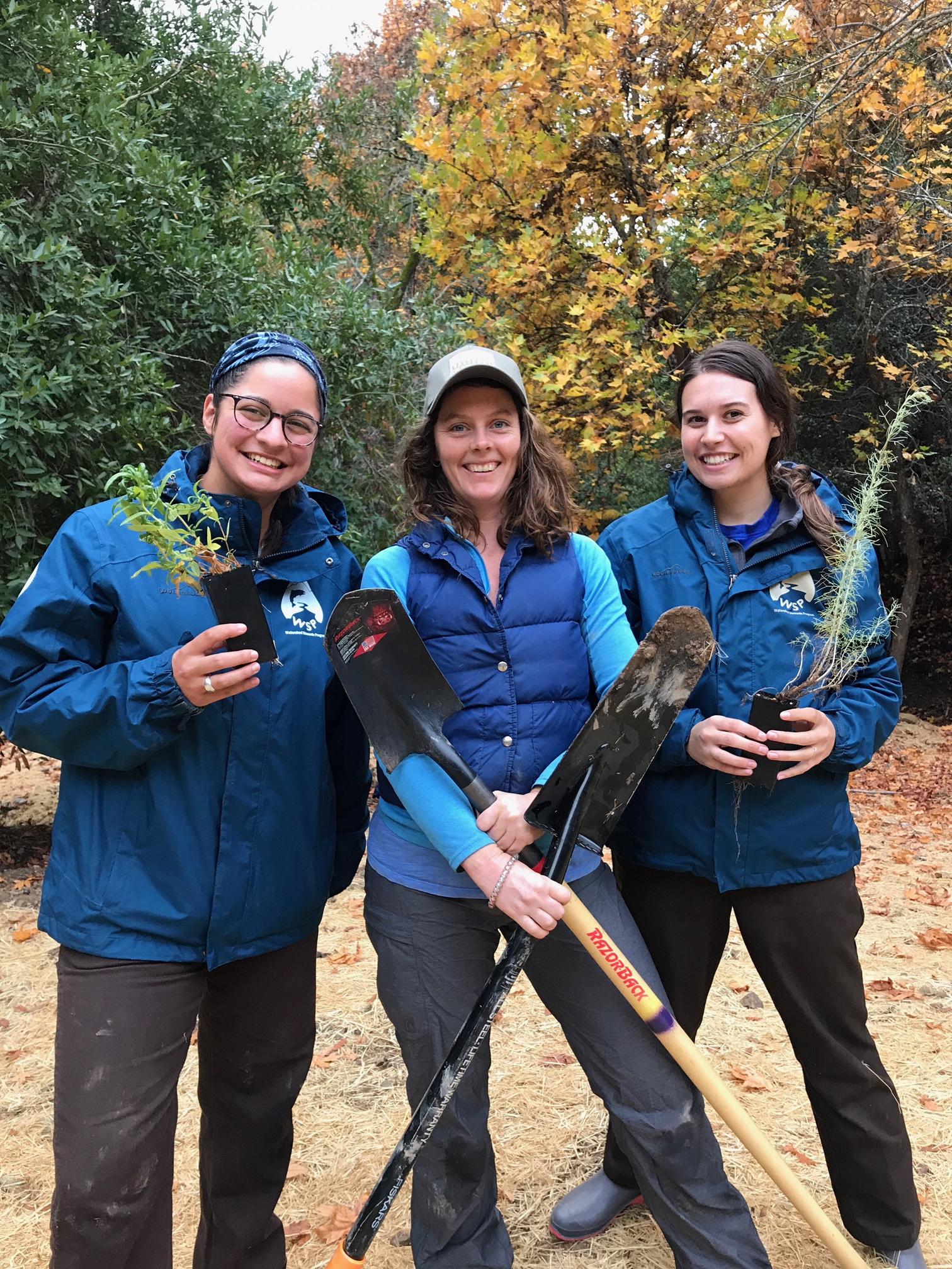 Nina (left) with her Grassroots Ecology co-workers Claire (middle) and Becca (right)