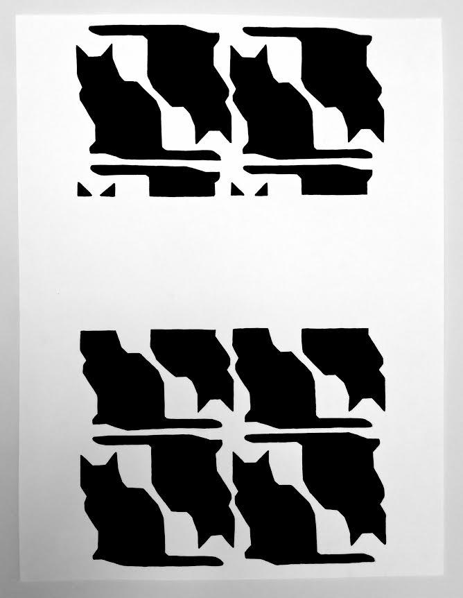 "Cat Pattern #4 ,2015 Gouache on paper 12"" x 9"""