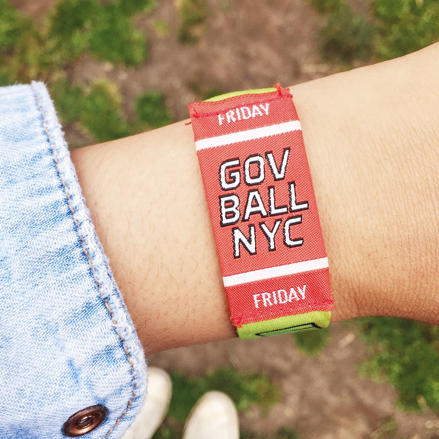 Admission wristband for Friday