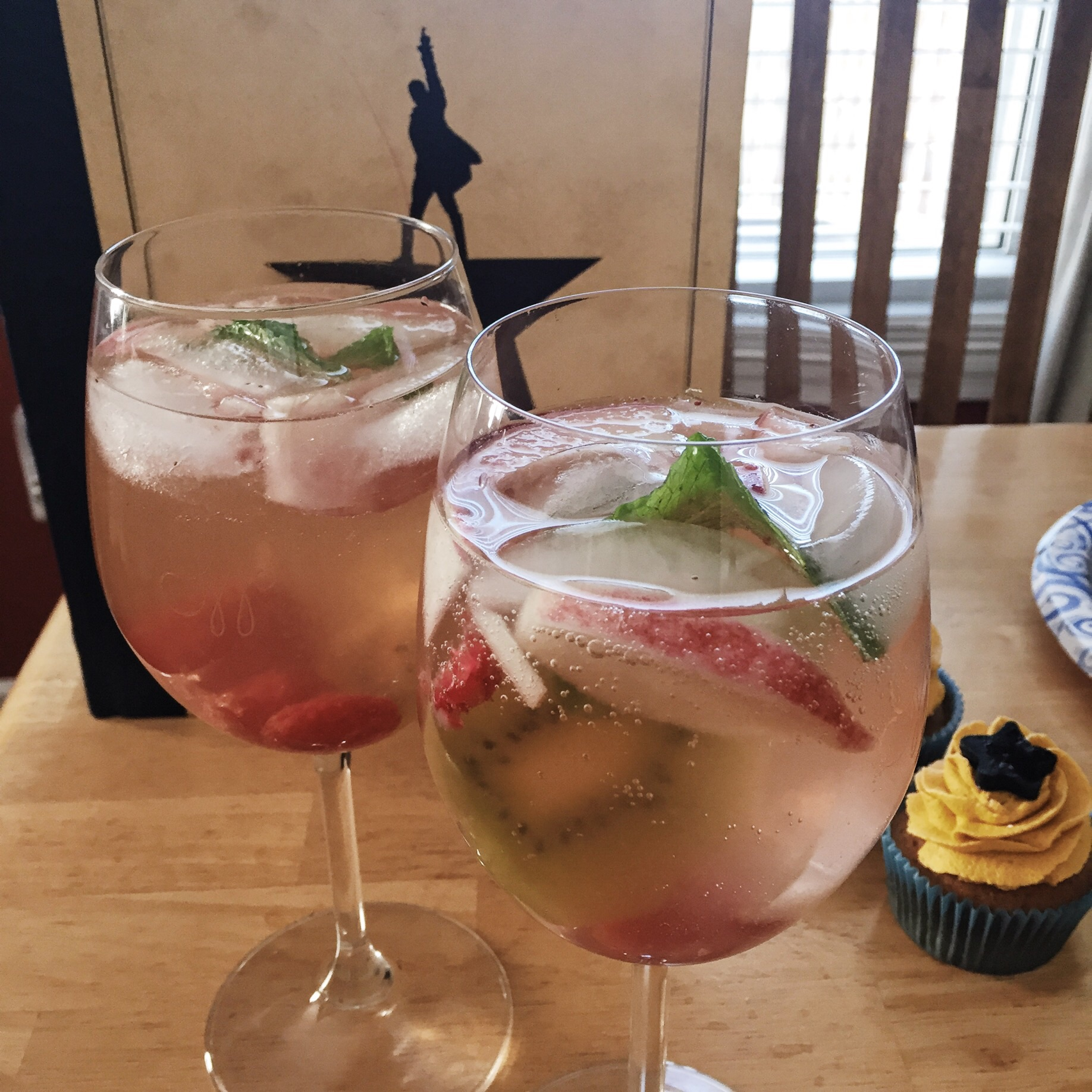Kiwi, Peach and Raspberry Sangria in our George Washington glasses