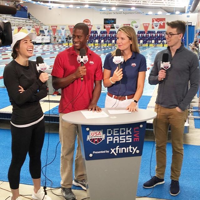 Thank you @usaswimming and #DeckPassLive for another great @tyrsport Pro Series meet! I absolutely loved seeing so many familiar faces and working alongside the talented @commingsjeff! ➡️ left to see the 🐐