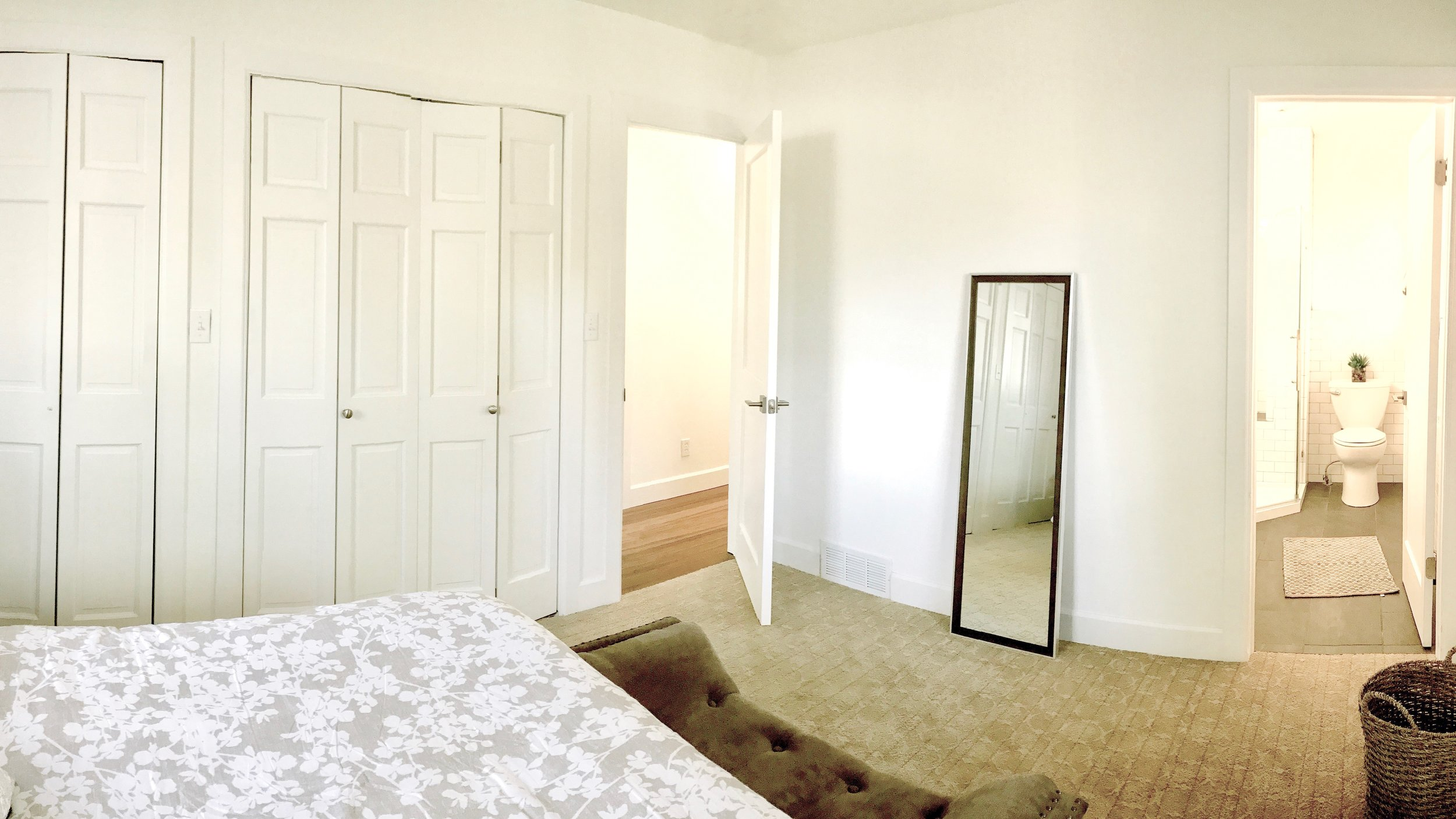 We reconfigured walls to maximize space, adding a master bathroom and 11 feet of hanging space in the master closet.