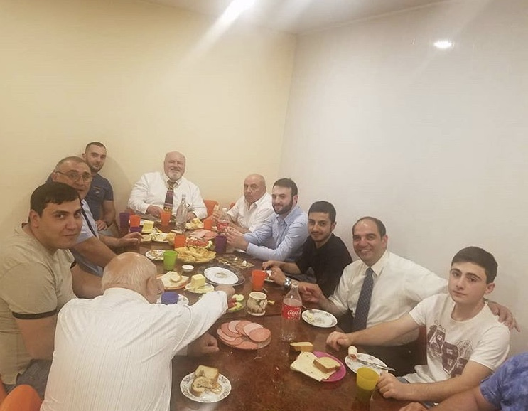 After preaching at Central Baptist Church, lunch with several men, Lahmajo, lavash, salami, doktorski, salad, and Coca-Cola!