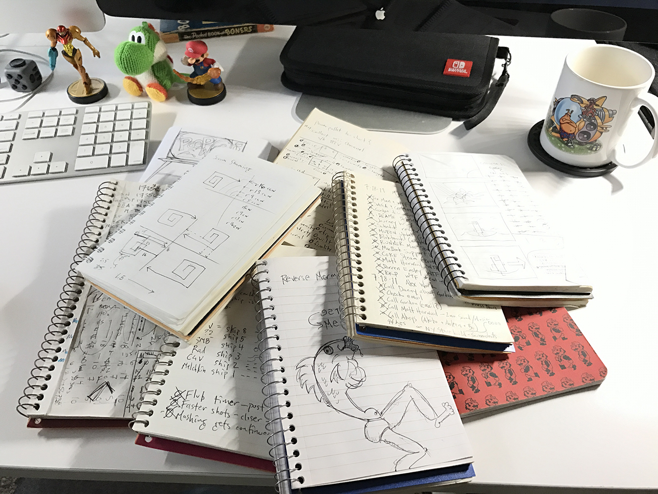 My old notebooks from BIT.TRIP BEAT to Runner2.