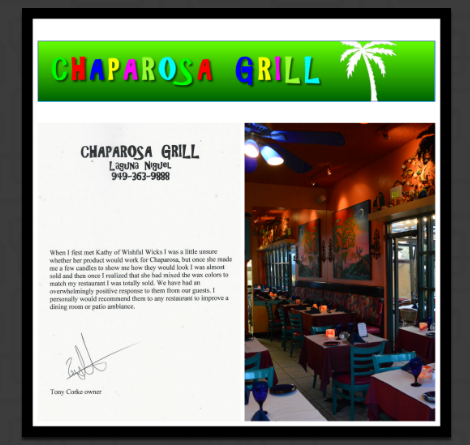 Wishful Wicks was used as centerpiece luminaries on the tables at The Chaparosa Grill in Laguna Niguel Ca. We incorporated the tropical colors of the restaurant into the luminaries for a stunning effect.