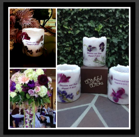 We have created some beautiful wedding centerpieces, but this project was extra special because we took the floral arrangements from the wedding itself and created commemorative luminaries with the actual flowers poured into them and then sent to the wedding guests as thank you gifts for attending.