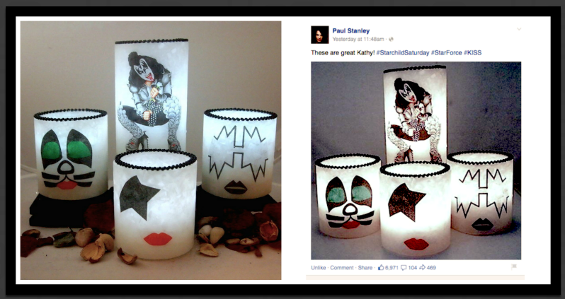 We posted this picture on the internet to showcase a tribute set of luminaries for the band KISS. Paul Stanley, one of the founding members saw the picture and reposted the picture, which led to over 6000 'likes' on Facebook in 24 hours.