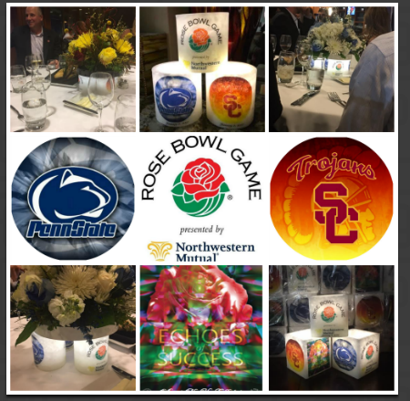 Our product was chosen to be the official luminary for the 2016 and 2017 Rose Bowl events including the annual coaches dinner. Four luminaries were used per table with a beautiful floral arrangement on top. At the end of the evening the attendees were able to take one home as a gift!