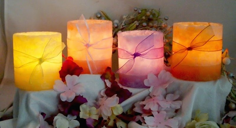 Wishful Wicks created this beautiful pastel quartet for a Santa Barbara wedding for the Warner family.
