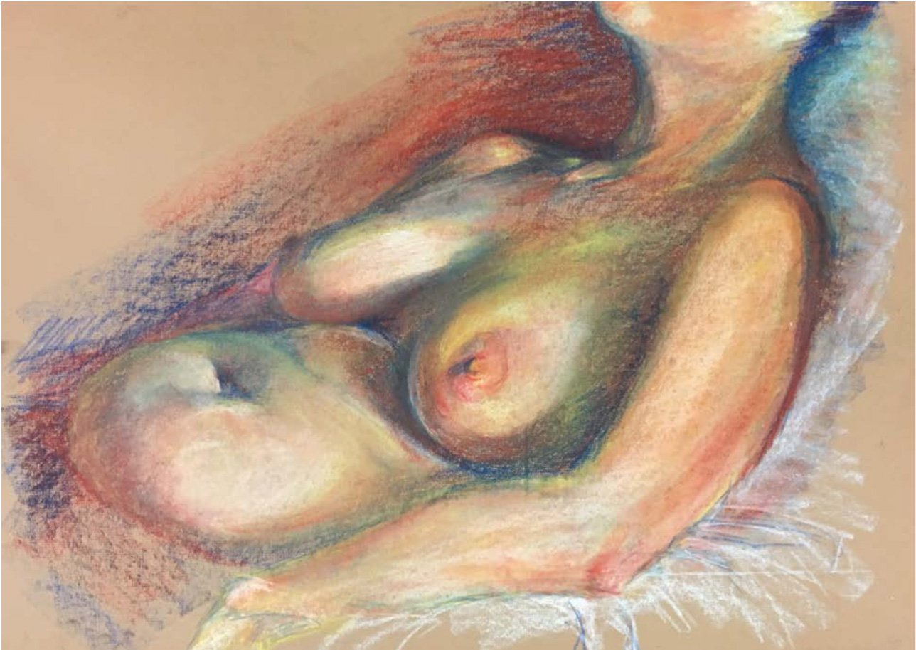 "Student: David Gibson Project: ""Human Figure in the Primary Triad"" (Drawing II) Soft Pastel 18""x24"""